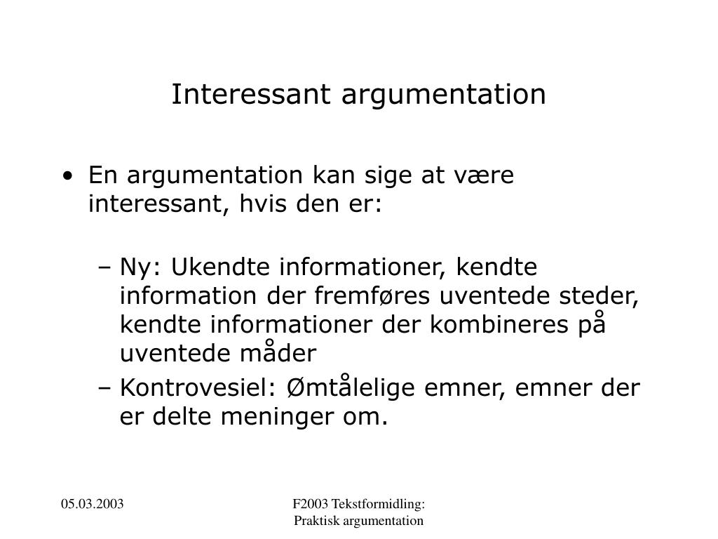 Interessant argumentation