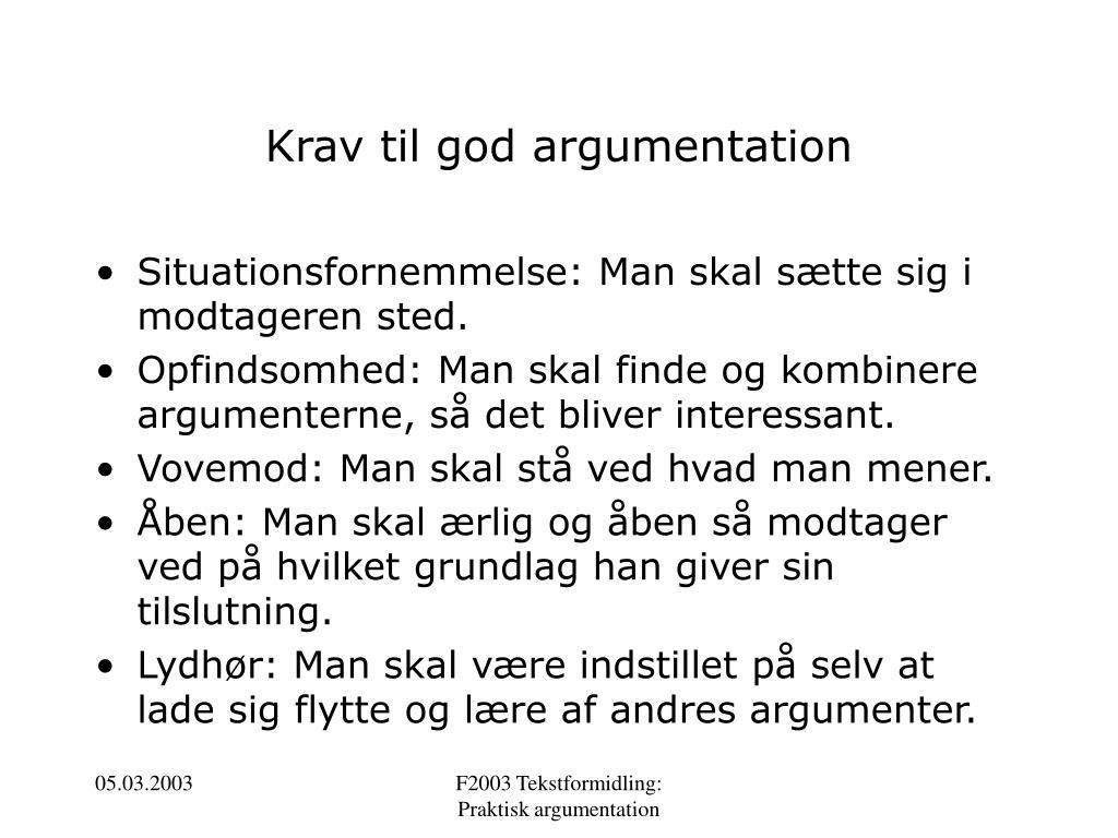 Krav til god argumentation