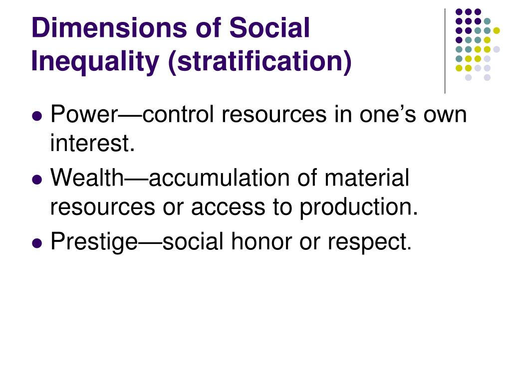 Dimensions of Social Inequality (stratification)