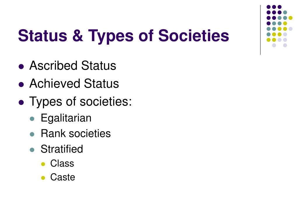 Status & Types of Societies