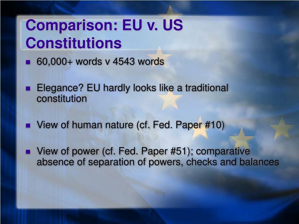 Comparison: EU v. US Constitutions
