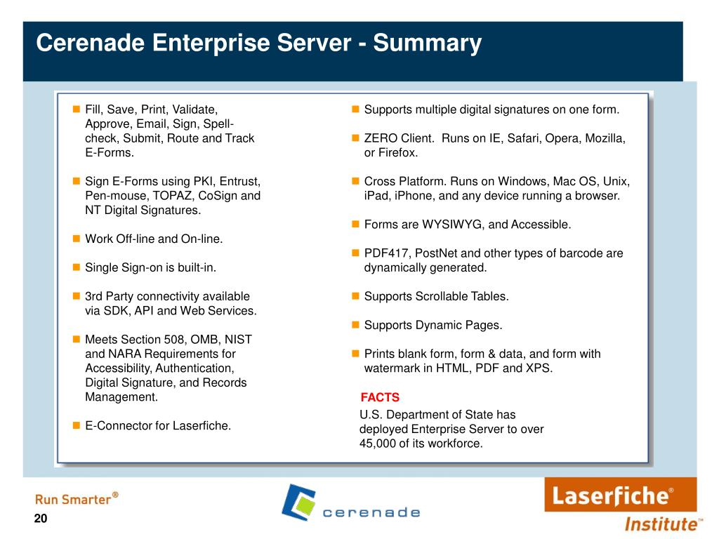 Cerenade Enterprise Server - Summary