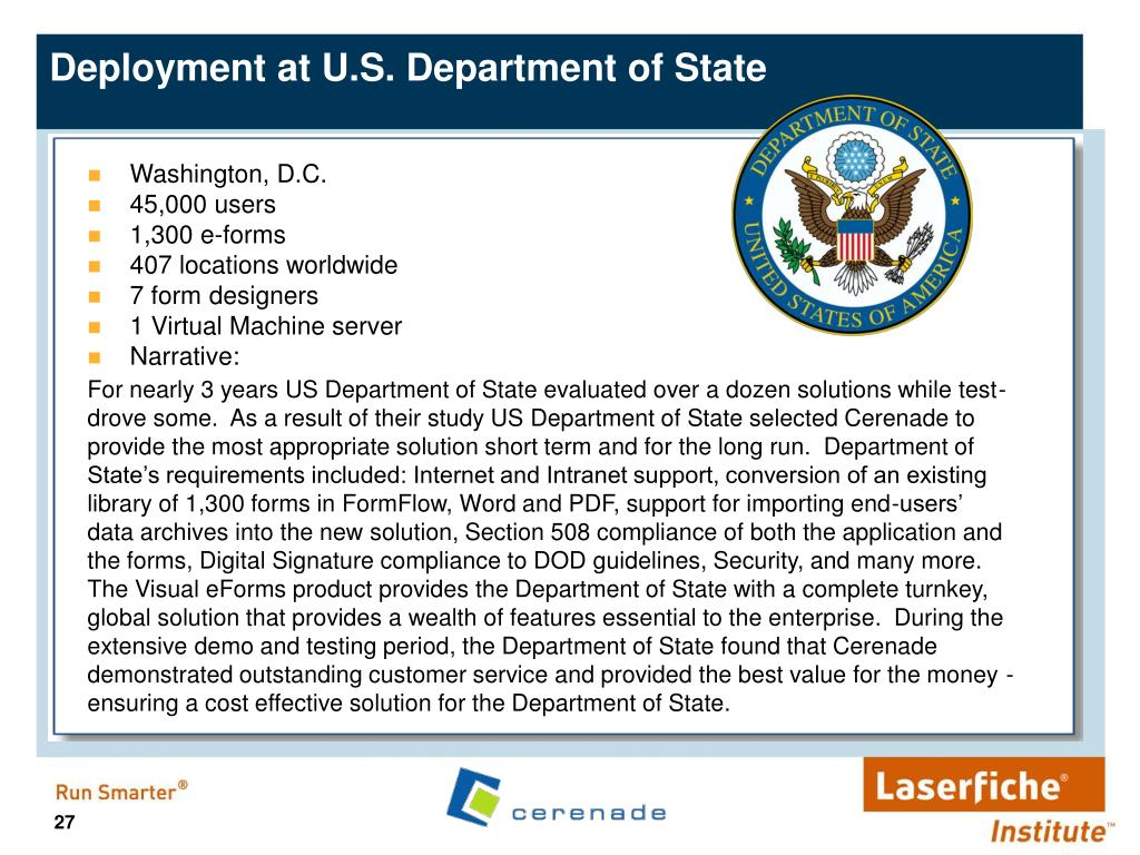 Deployment at U.S. Department of State