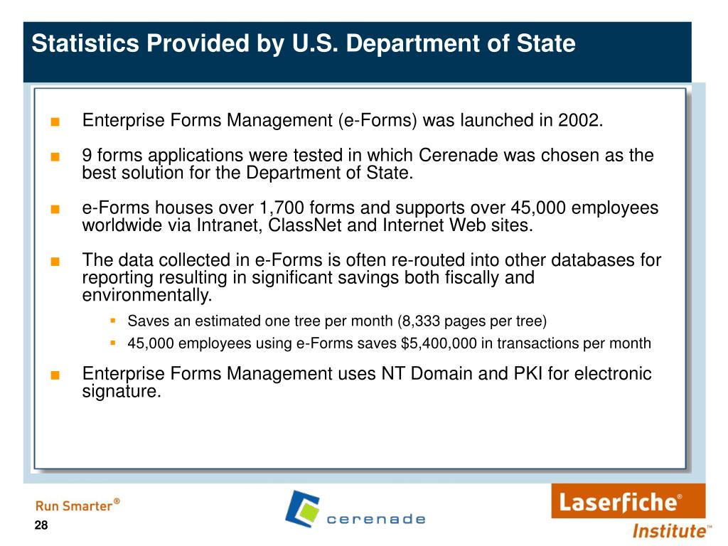 Enterprise Forms Management (e-Forms) was launched in 2002.