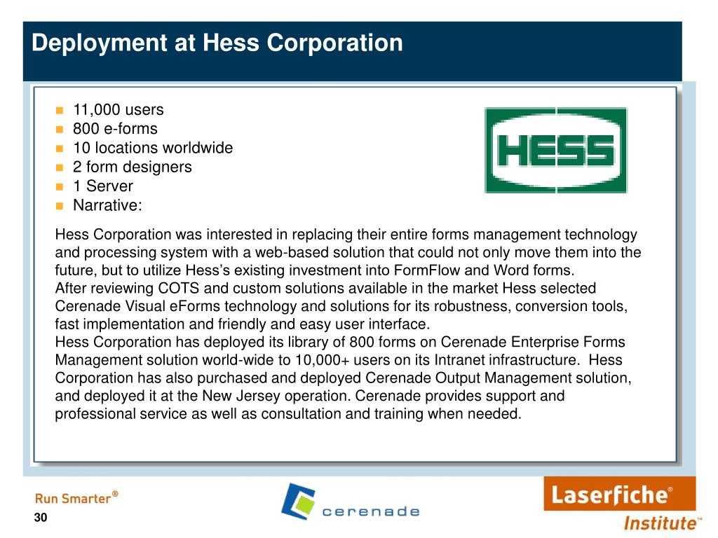 Deployment at Hess Corporation