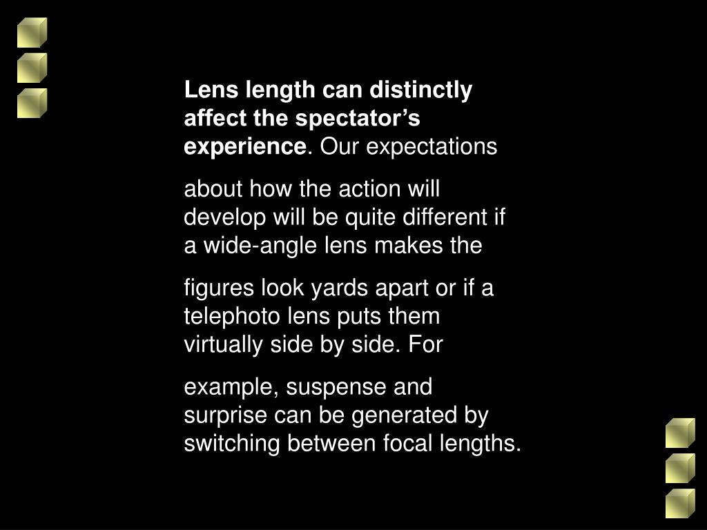 Lens length can distinctly affect the spectator's experience