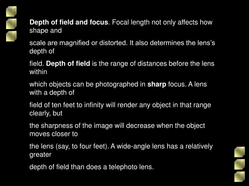 Depth of field and focus
