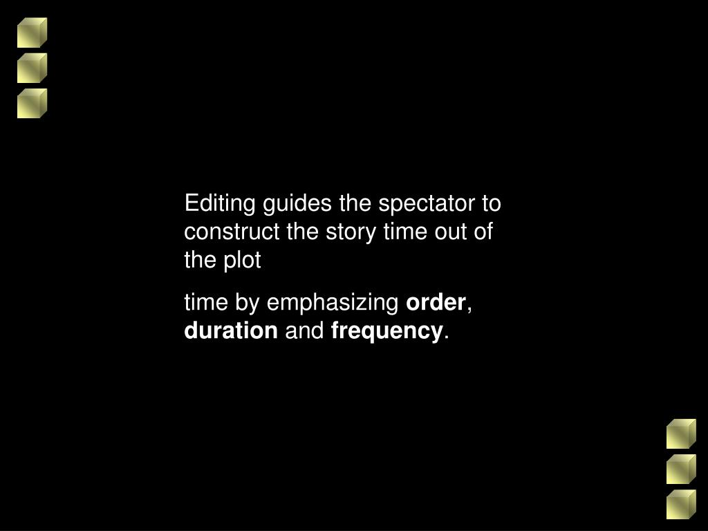 Editing guides the spectator to construct the story time out of the plot