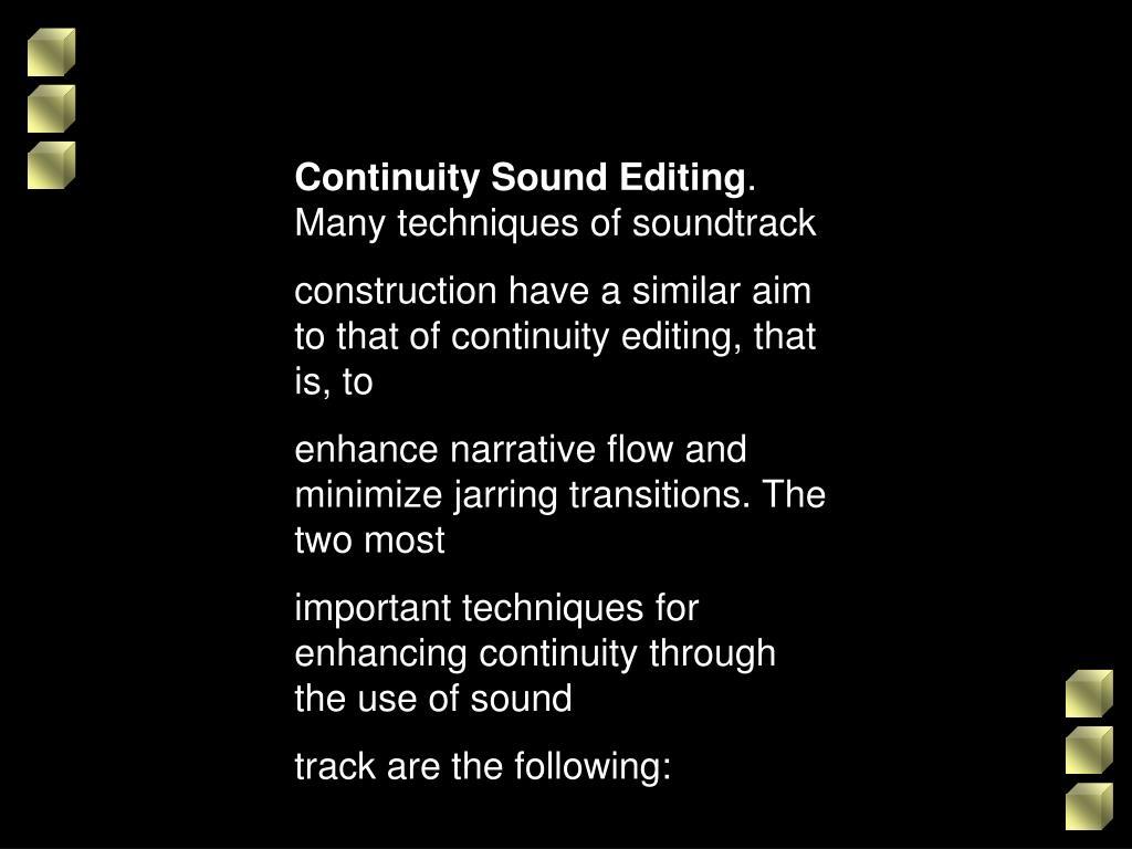 Continuity Sound Editing