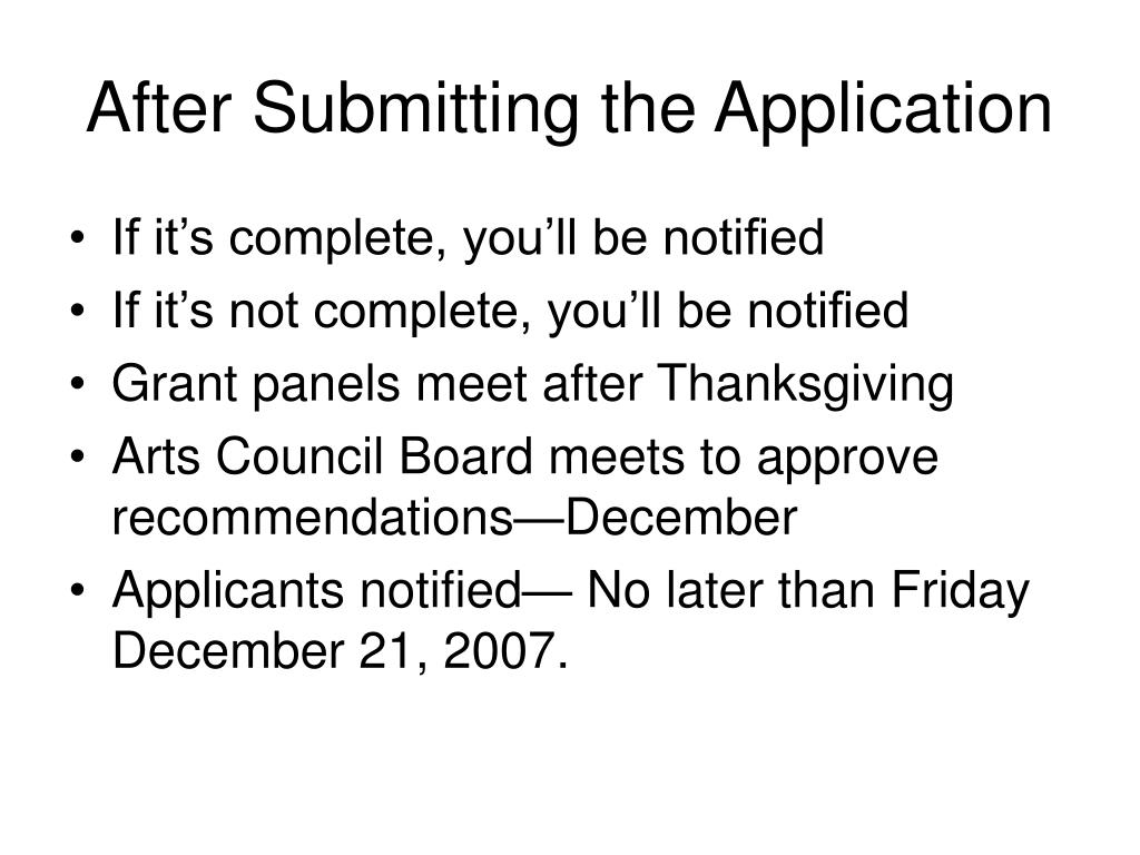 After Submitting the Application
