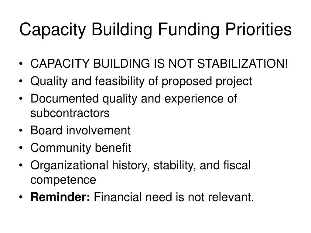 Capacity Building Funding Priorities