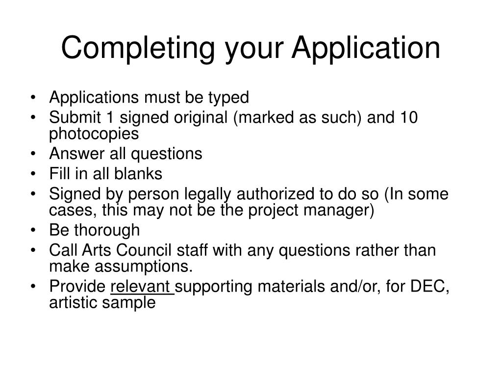 Completing your Application