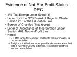 evidence of not for profit status dec