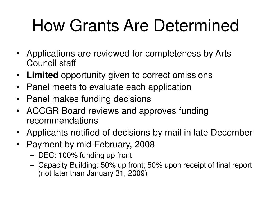 How Grants Are Determined