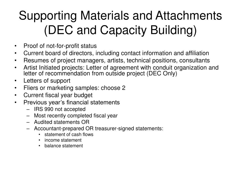 Supporting Materials and Attachments (DEC and Capacity Building)