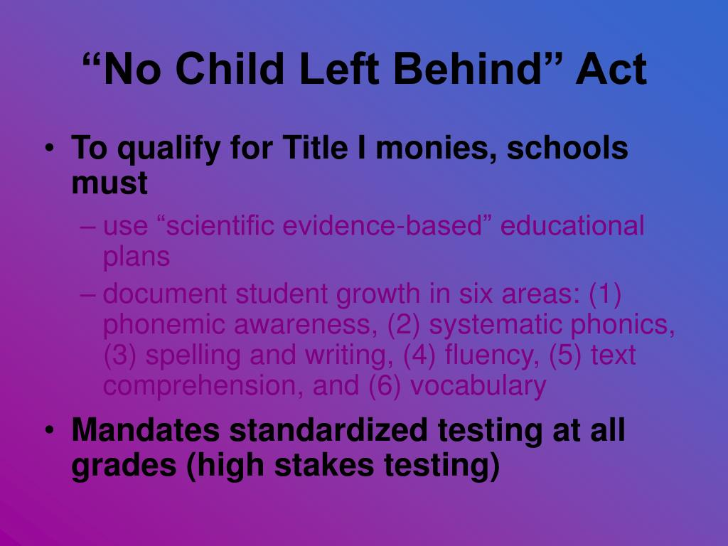essay on no child left behind