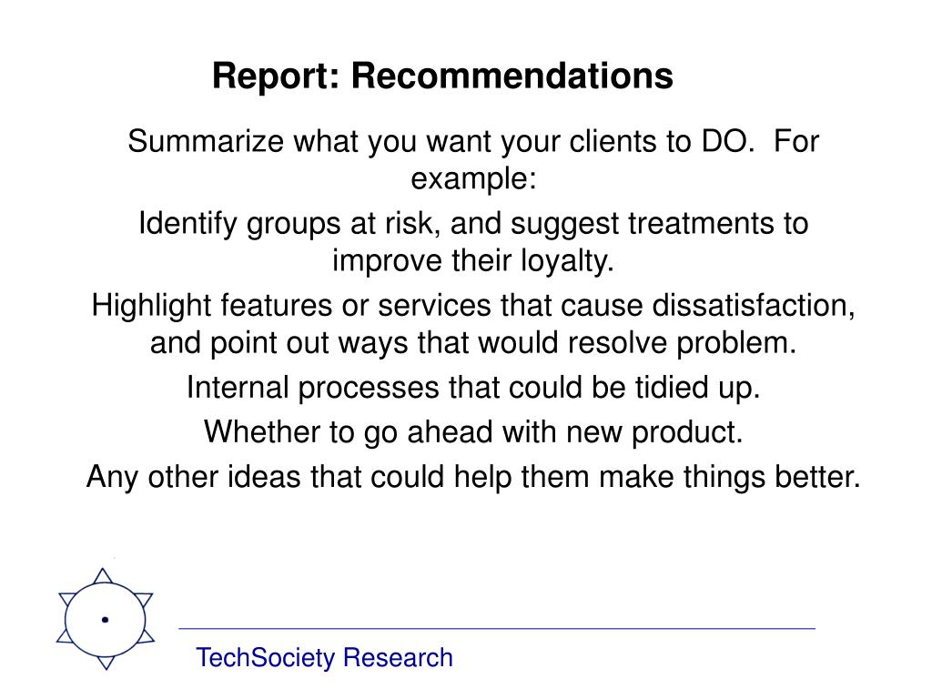 Report: Recommendations