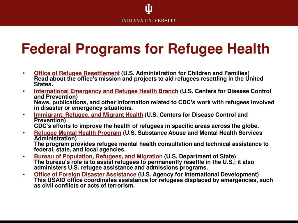 Federal Programs for Refugee Health