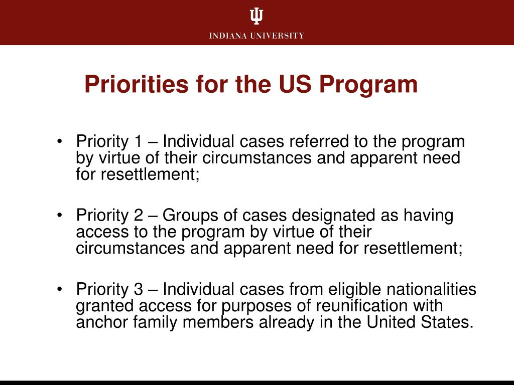 Priorities for the US Program