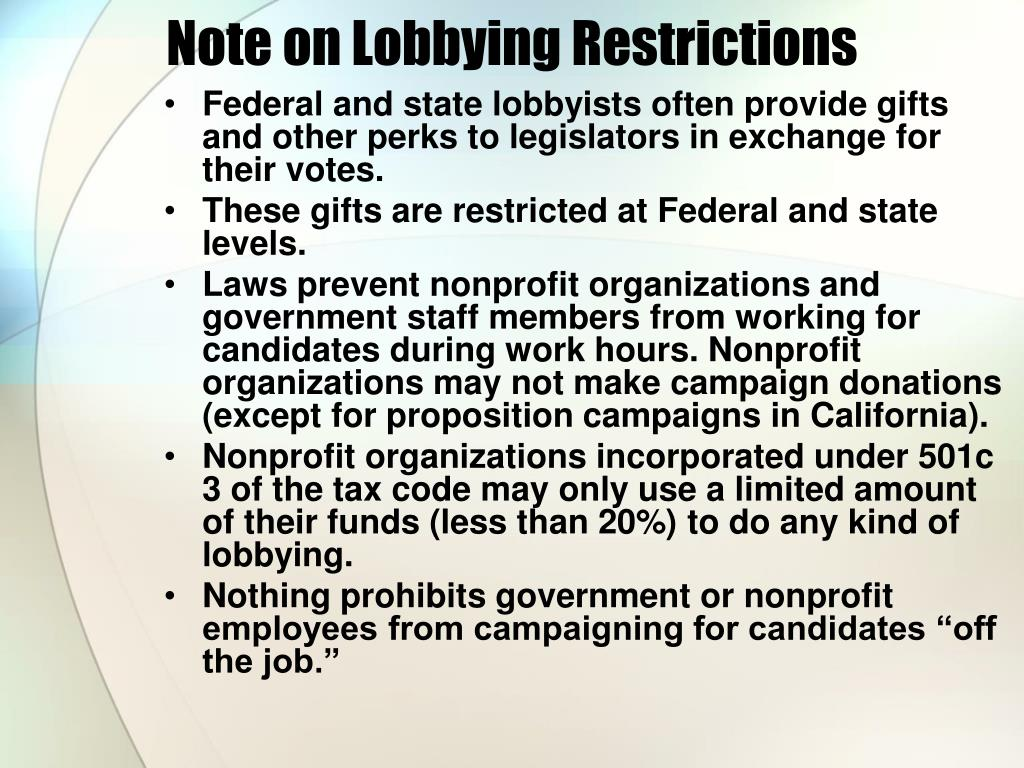 Note on Lobbying Restrictions