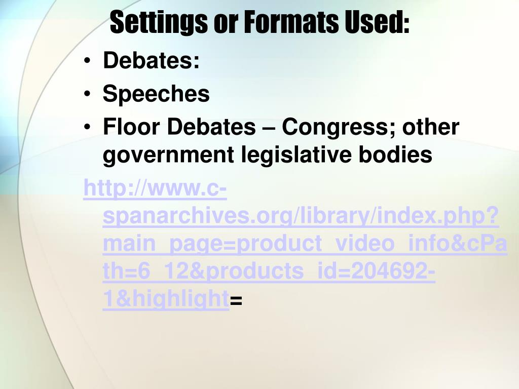 Settings or Formats Used: