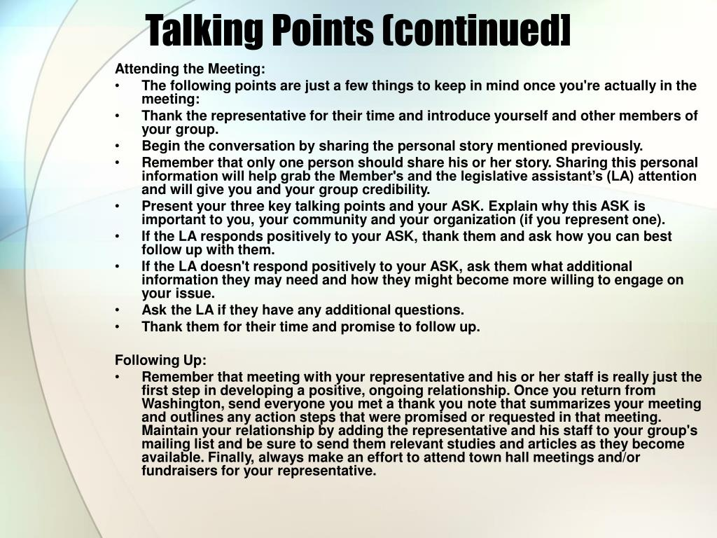Talking Points (continued]