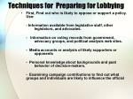 techniques for preparing for lobbying