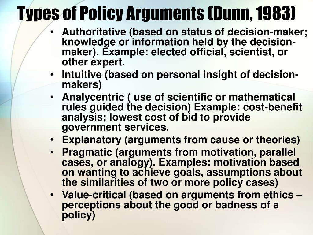 Types of Policy Arguments (Dunn, 1983)