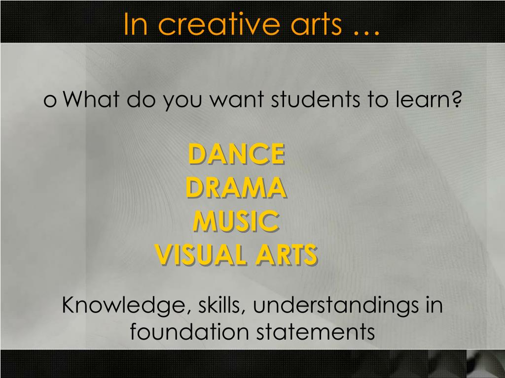 In creative arts …