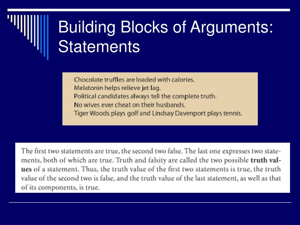 Building Blocks of Arguments: Statements