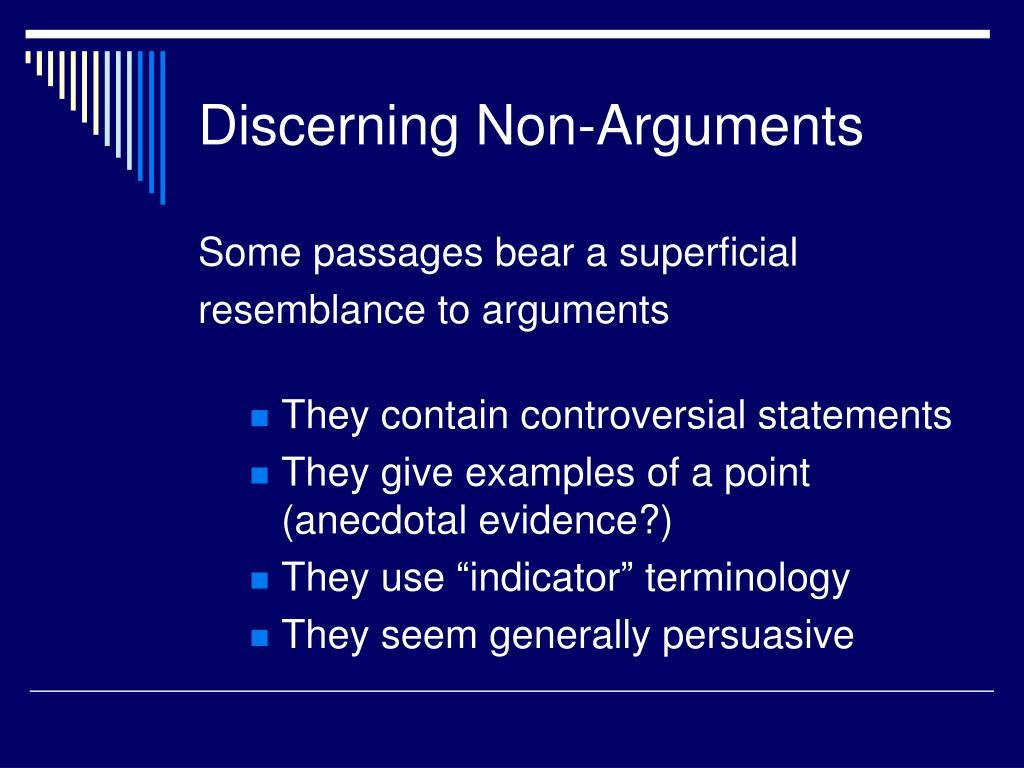 Discerning Non-Arguments