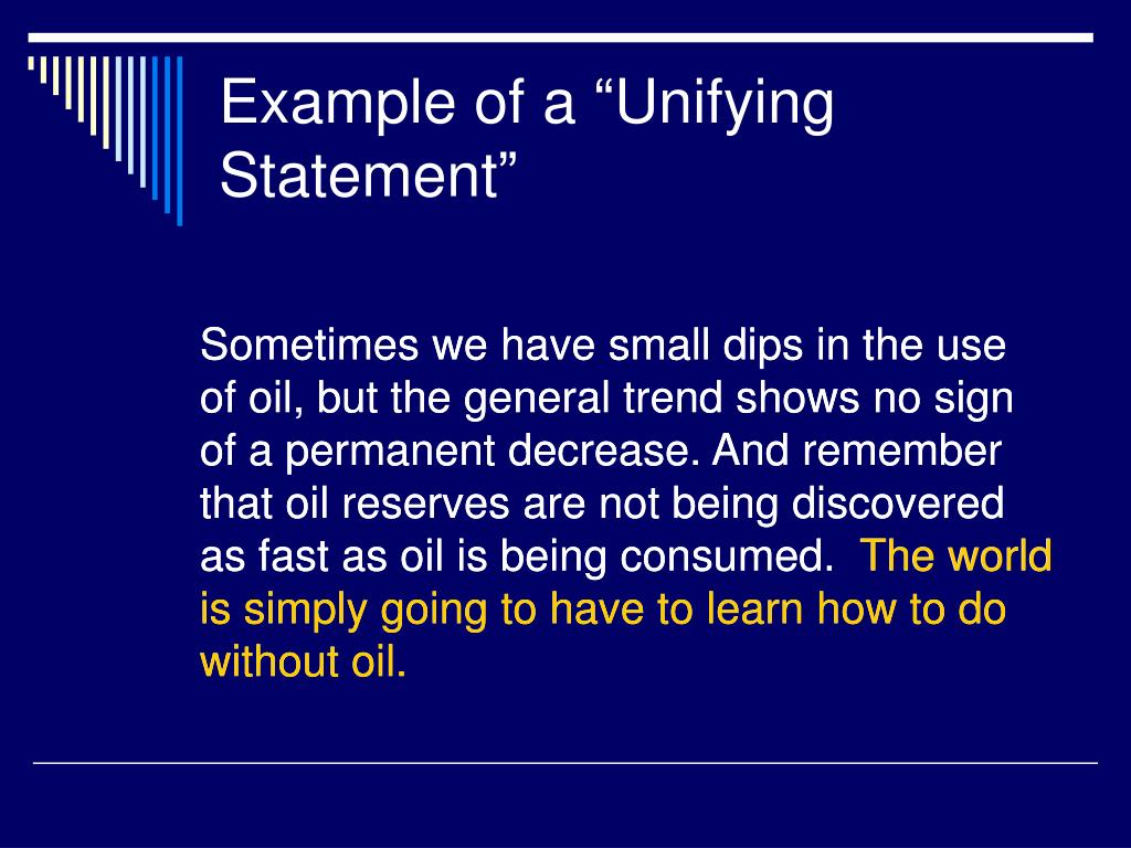 """Example of a """"Unifying Statement"""""""