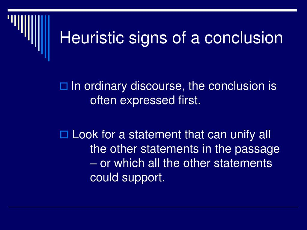 Heuristic signs of a conclusion