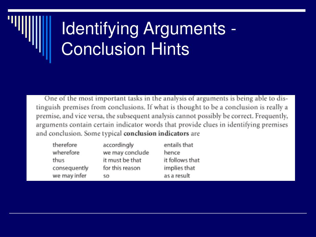 Identifying Arguments -Conclusion Hints