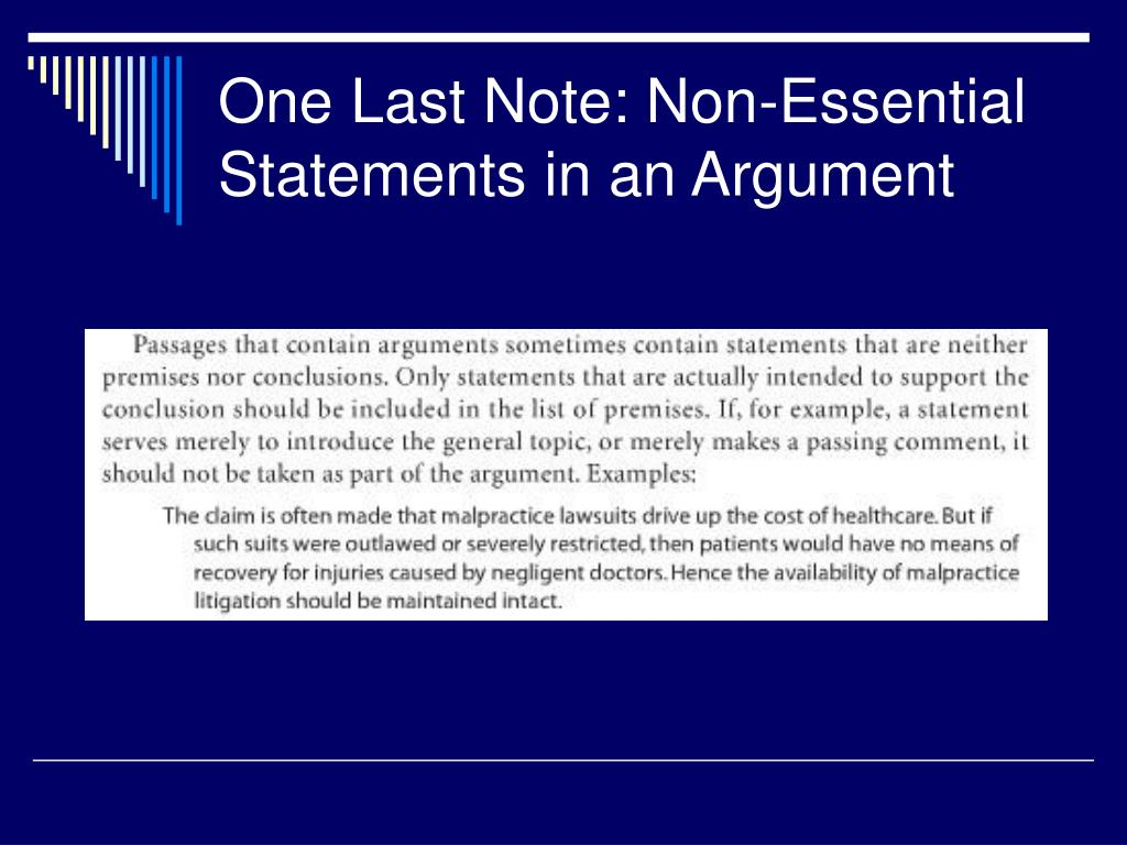 One Last Note: Non-Essential Statements in an Argument