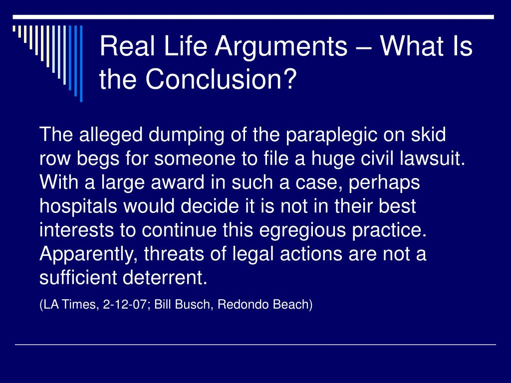 Real Life Arguments – What Is the Conclusion?