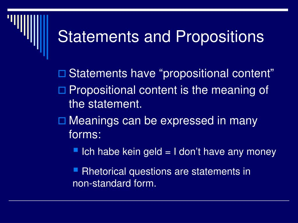 Statements and Propositions