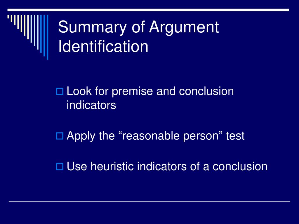 Summary of Argument Identification