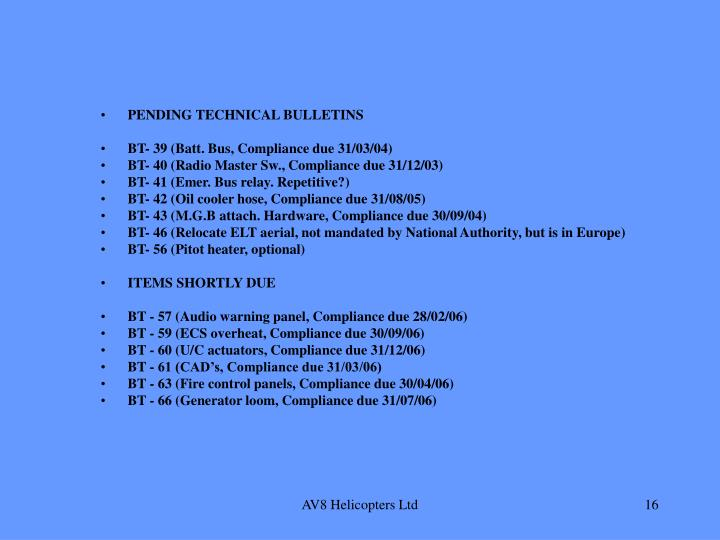 PENDING TECHNICAL BULLETINS