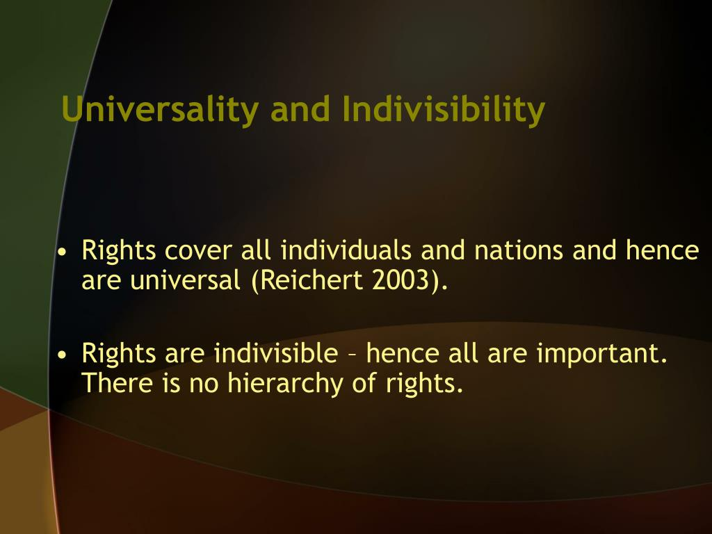 Universality and Indivisibility
