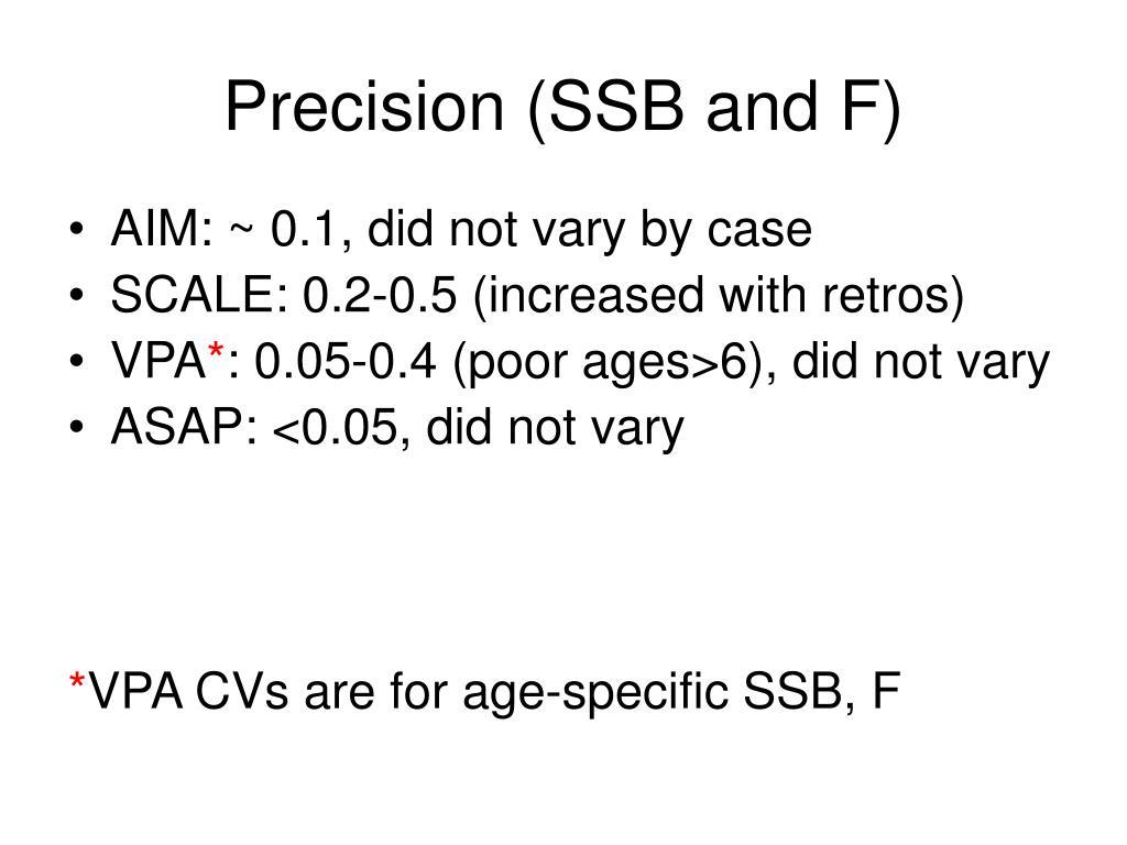 Precision (SSB and F)