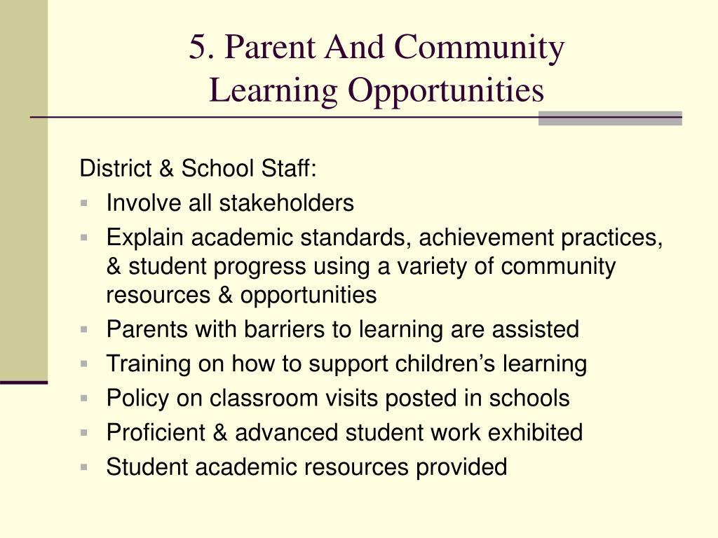 5. Parent And Community