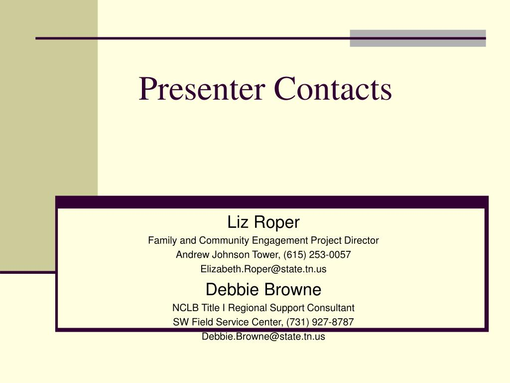 Presenter Contacts
