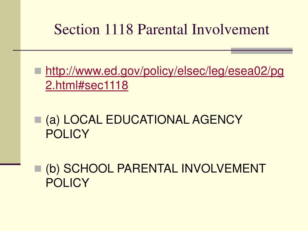 Section 1118 Parental Involvement