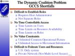 the dynamic coalition problem gccs shortfalls