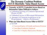 the dynamic coalition problem gccs shortfalls value based access