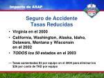 seguro de accidente tasas reducidas