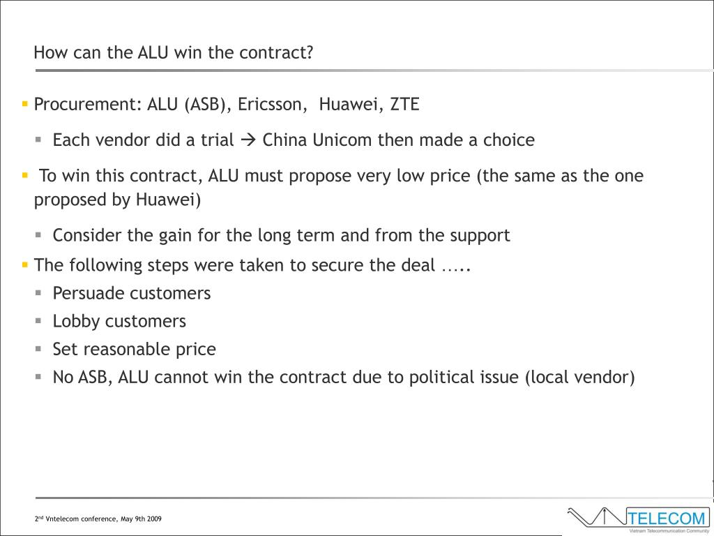 How can the ALU win the contract?