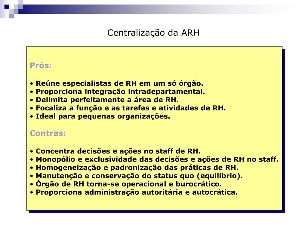 Centralização da ARH