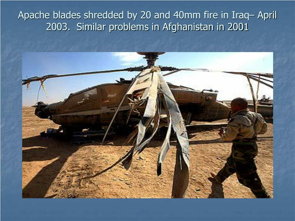 Apache blades shredded by 20 and 40mm fire in Iraq– April 2003.  Similar problems in Afghanistan in 2001